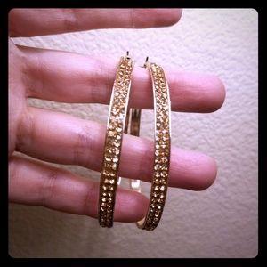Rose Gold Rhinestone Earrings Large Hoops